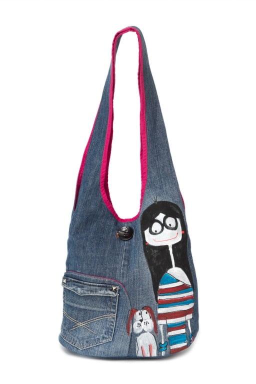 geanta hipster cu catel pictata manual pe blug