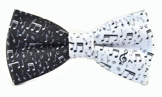 papion portativ muzical alb negru handmade