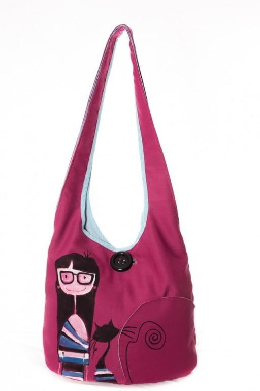 geanta hipster pictata manual cu pisic roz