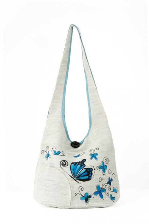 Geanta umar fluturi albastri pictati manual