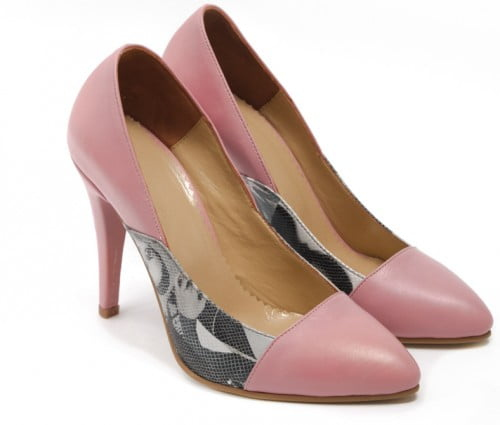 Pantofi stiletto din piele naturala imprimeu revista roz