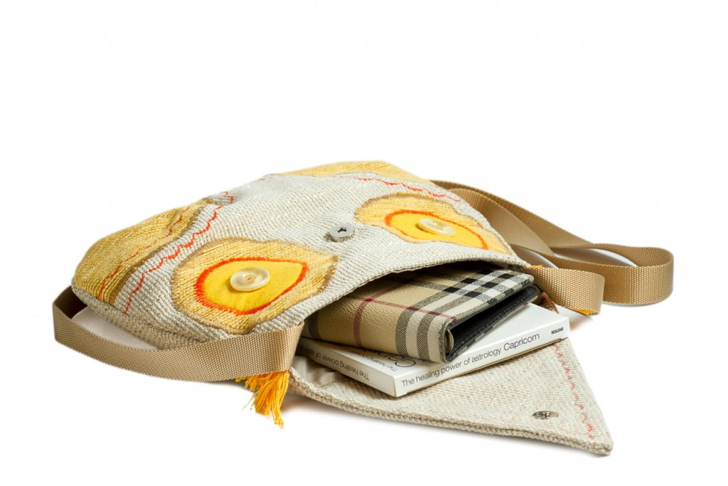 Geanta bufnita galbena handmade