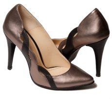 Pantofi stiletto de ocazie din piele naturala bronz negru