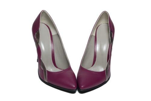 Pantofi stiletto de ocazie din piele naturala mov