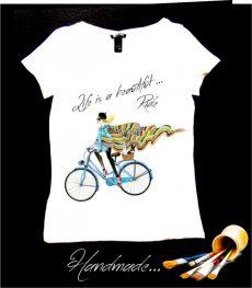 tricou biciclista pictat manual