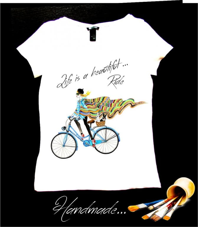 tricou biciclista pictat manual