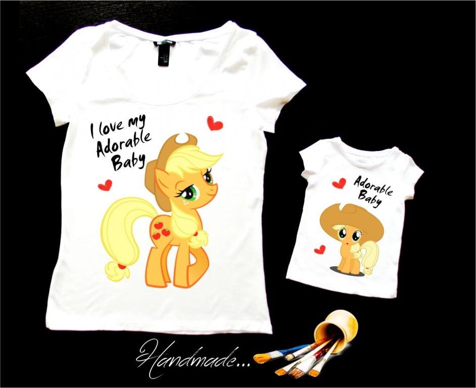set tricouri mama si fiica Little Pony pictate manual