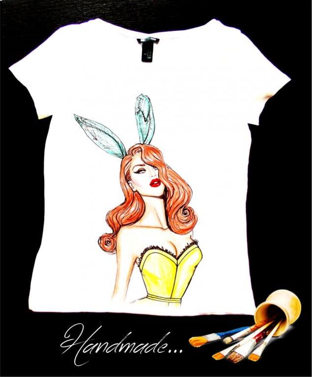 tricou clubbing Bunny pictat manual