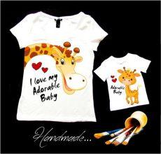 tricou copii pictat manual cu girafa