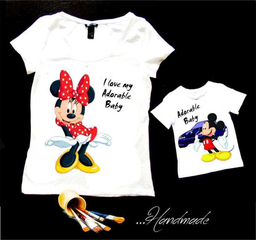 tricou copii mickey mouse pictat manual