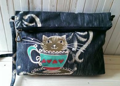 geanta neagra cu pisica pictat manual