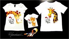 set tricouri familie girafe