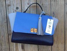 geanta trapez unicat piele naturala albastra