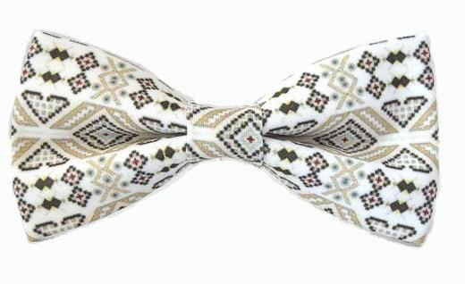 papion etno traditional romanesc alb, negru, crem