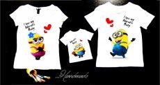set tricouri Minions pentru familie mama tata baietel