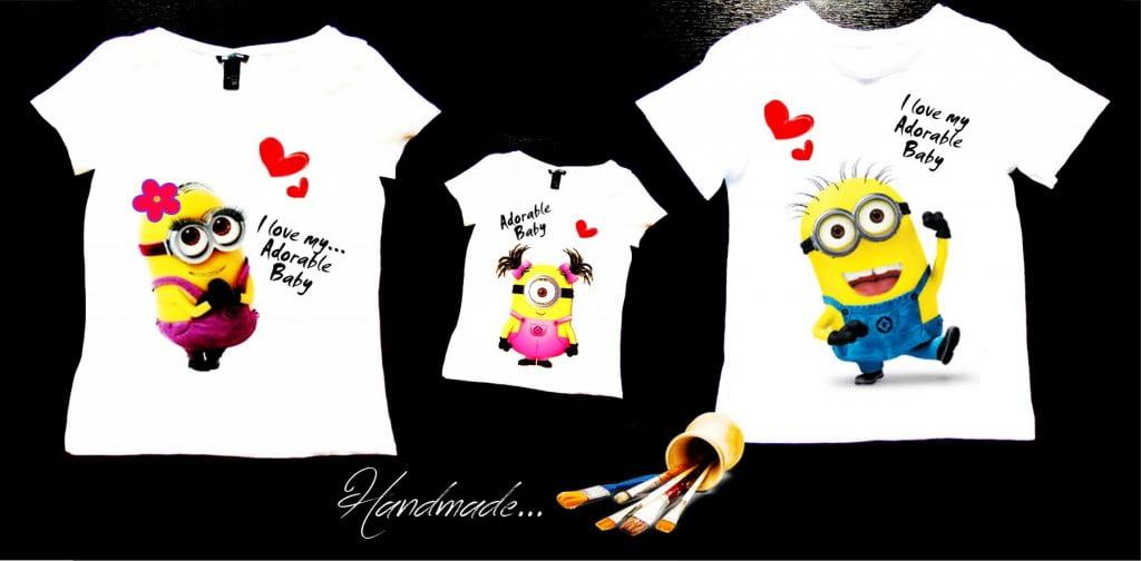 set tricouri Minions pentru family mama tata fiica