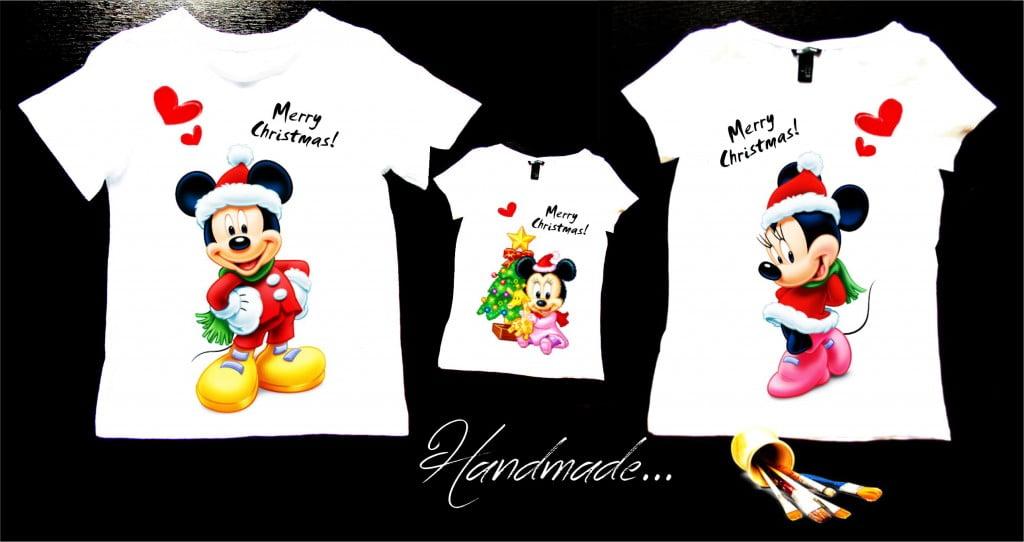 set tricouri familie cu minnie pentru craciun