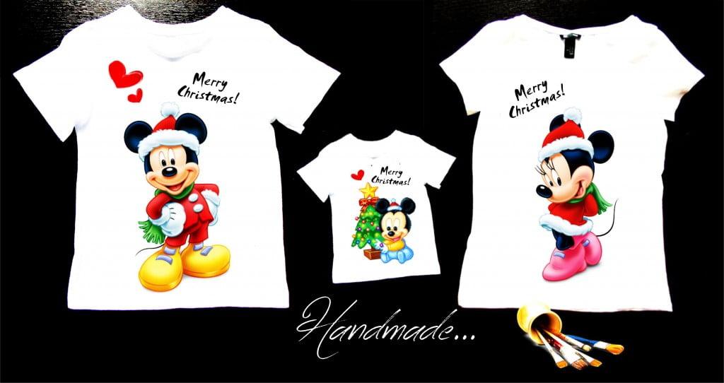 set tricouri familie cu mickey pentru craciun