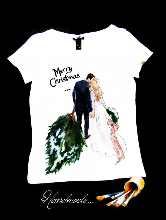 tricou cadou Craciun pentru cuplu tineri casatoriti