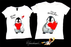 set tricouri cuplu pinguini indragostiti