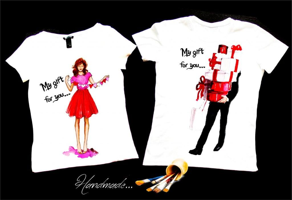 set tricouri cuplu inimi