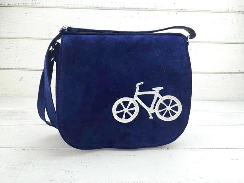 geanta piele naturala bleumarin cu bicicleta