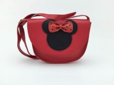 geanta fetite Minnie din piele naturala rosie