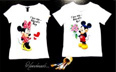 set tricouri cuplu Mickey Minnie pictat manual