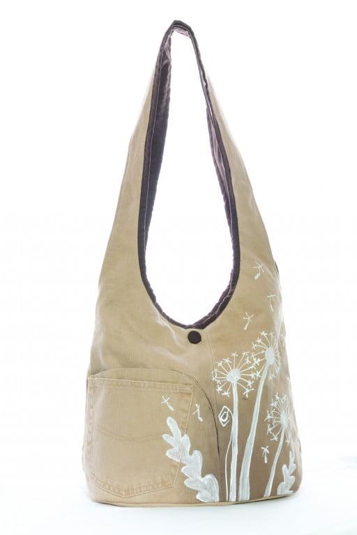 geanta umar pictata manual cu flori de papadie