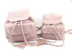 set rucsacuri mama fiica din piele naturala roz prafuit