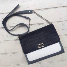 geanta geometrica negru croco gri alb bleu