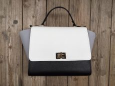 geanta trapez piele naturala gri alb negru