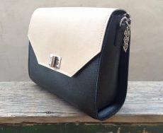 geanta geometrica piele naturala crem negru