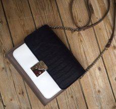 geanta geometrica piele naturala alb negru croco maro