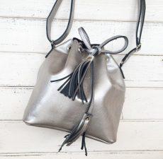 saculet piele naturala argintiu nuante metalizate