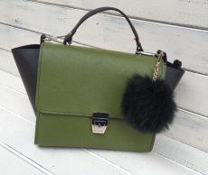 geanta trapez piele naturala verde negru pom pon