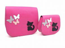 set genti mama fiica piele naturala roz fluturasi pisicute
