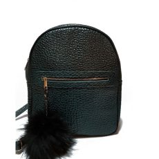 Rucsac Zappy din piele naturala verde inchis oval