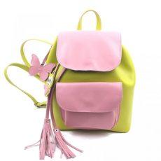 Rucsac Candy din piele naturala verde lime, roz prafuit, bufnita, fluturas
