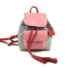 Rucsac Candy light din piele naturala roz, gri, rosu cu fluturas