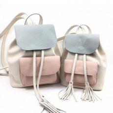 Set rucsacuri Candy mama fiica, din piele naturala crem, roz, gri