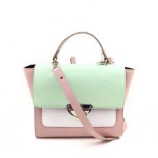 Geanta Chérie din piele naturala verde menta, roz, alb