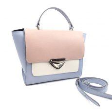 Geanta Chérie din piele naturala bleu, roz, alb