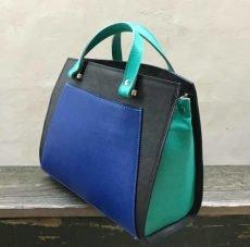 geanta mare trapez din piele naturala albastru negru