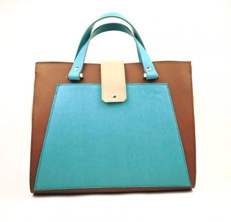 geanta mare trapez din piele naturala maro coniac si turcoaz