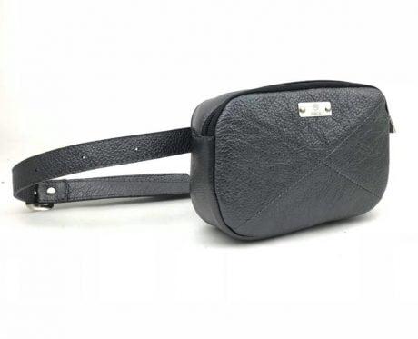 borseta dama chic din piele naturala negru sidef