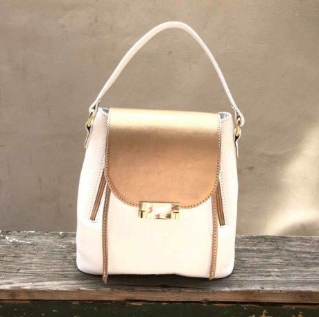 Rucsac geanta Chérie din piele naturala alb - auriu