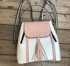 rucsac geanta din piele naturala alb roz pudra