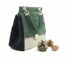 geanta trapez piele naturala ivoire-verde-negru
