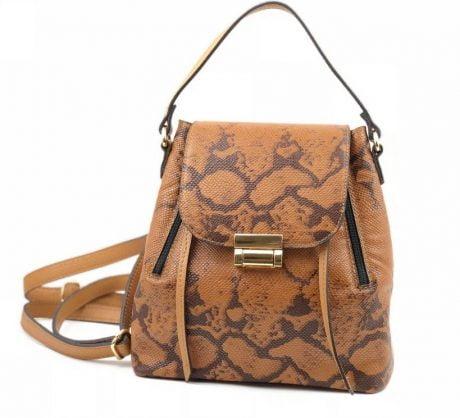 rucsac geanta din piele naturala caramel snake
